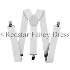 MENS WHITE 35MM WIDE ADJUSTABLE BRACES ELASTIC FANCY DRESS GANGSTER ACCESSORY