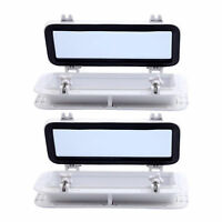 """Pair 16""""X8"""" Rectangle Opening Portlight Porthole ABS White Tempered Glass Hatch"""