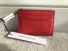 NEW! MARC JACOBS Card Wallet Card ID Holder Pocket Wallet Rosey Red Leather