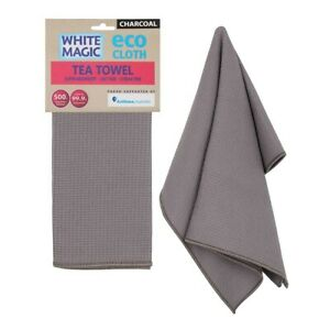 White Magic Eco Cloth Tea Towel Single Pack Charcoal Grey Brand New