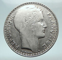 1933 FRANCE Authentic Large Silver 20 Francs Vintage French MOTTO Coin i80305