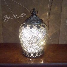 Vintage Lace Silver Diamond Design Glass LED Lantern Hanging Freestanding 14cm