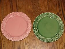 "BORDALLO PINHEIRO Set of 2 Bunny Pink & Green 8 1/4""  Salad Plates  Portugal"