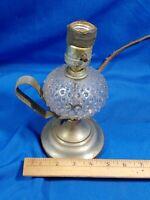 Antique Electrified Oil Lantern Lamp Crystal Brass Handle Handheld Light VTG Old