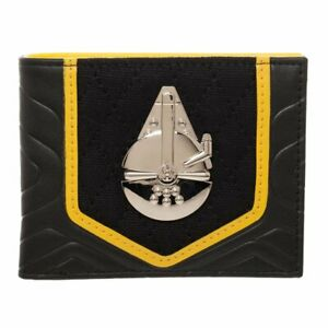 Star Wars Solo Black and Gold BiFold Wallet, PU with Shiny Millenium Falcon,
