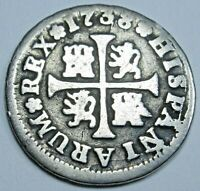 1738 Spanish Silver 1/2 Reales Antique 1700s Colonial Cross Pirate Treasure Coin
