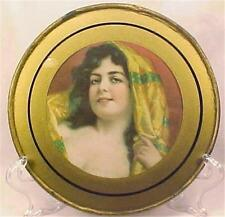 Victorian Flue Cover Exotic Dark Haired Lady Gypsy Glass Gold Antique A Beauty
