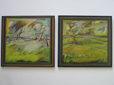MYSTERY ARTIST LANDSCAPE DIPTYCH  PAIR CALIFORNIA MODERNISM ABSTRACT SIGNED 1960