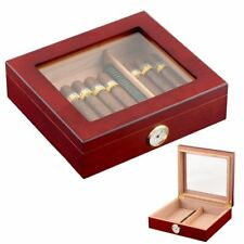 Cedar Wood Lined Cigar Humidor Box Storage Case Humidifier Hygrometer Luxury
