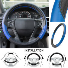 Motor Trend Textured PU Leather Steering Wheel Cover for Car SUV Vans Blue/Black