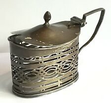 William Aitken Sterling Silver Mustard Pot AS IS MISSING GLASS SPOON 1902 40 gms