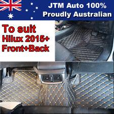 To suit Toyota Hilux 2015 - 2019 Black Orange 3D Leather Floor Mats