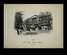 """Paris-""""Vues de Paris 1898"""" Photogravure """"La Porte Saint-Martin."""" Neurdein-Freres"""