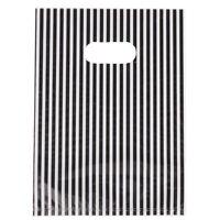100Pcs Popular Stripe Plastic Carrier Bag Shopping Boutique Store Package Bag PF