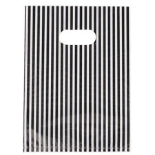 100pc White&Black Stripe Plastic Carrier Bags Fit Shopping Boutique Gift 20x14cm