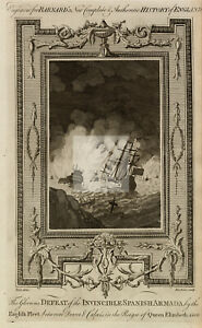 ENGLISH FLEET Defeating Spanish Armada - Dover & Calais - Antique Print #C767