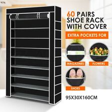 60 Pairs 10 Tier Portable Storage Shoe Rack Cabinet Stackable Organiser Shelf