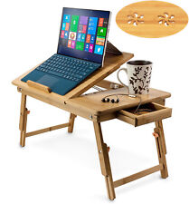 Bamboo Laptop Desk Adjustable Breakfast Serving Bed Tray with Tilting Top Drawer