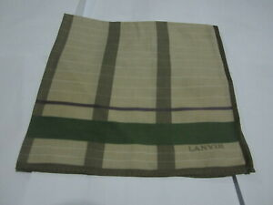 """USED LANVIN BROWN SOLID  PATTERN COTTON 18"""" HANDKERCHIEF POCKET SQUARE FOR MEN#2"""
