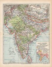 OST - INDIEN Cylon Delhi Bombay Landkarte v. 1898