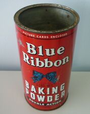 Original 1950's Canadian Blue Ribbon Advertising Baking Powder Tin