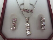 new 925 sterling silver trilogy set 5mm pendant ,chain,earrings + ring all sizes