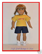 Yellow T-Shirt & Denim Shorts fits American Girl Doll