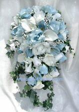 LIGHT BLUE Cascade Bridal Bouquet ~ Roses Calla Lilies Silk Wedding Flowers NEW!