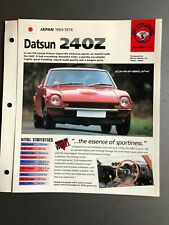 "1969 - 1974 Datsun 240Z Coupe IMP ""Hot Cars"" Spec Sheet Folder Brochure Awesome"