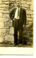 Man in Suit Poses by Stone Wall-Watch Chain-RPPC-Vintage Real Photo Postcard