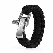TI-EDC Handwoven Outdoor Paracord Survival Bracelet With Stainless Steel Shackle