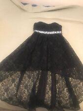 Black lace tiered prom dress