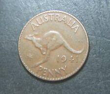 1941 K.G, Australian Penny,error planchet peel
