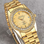 Generous Mens Quartz Watch Gold Plated Date Crystal Decor Analog Wrist Watch Hot