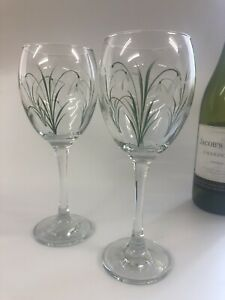Pair of Individually hand Painted Snowdrop Wine  Glasses