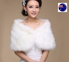 Women Creamy white Bride Bridal Wedding Party Faux Fur Warm Shawl Wrap Scarf