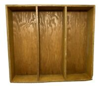 "Vintage Wood Divided Drawer Organizer Tray Handmade 12 3/8""L x 11""W x 2 1/8""H"