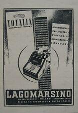 1942 PUBBLICITA CALCOLATRICE ADDIZIONATRICE TOTALIA LAGOMARSINO