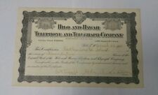1912 Hilo and Hawaii Telephone and Telegraph Company Stock Certificate No. 304