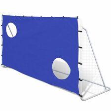 vidaXL Portería de Fútbol con Lona para Entrenamiento Acero Blanca y Azul