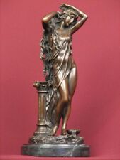 SIGNED BRONZE DETAILED SCULPTURE ART NOUVEAU SEMI NUDE STATUE ON MARBLE BASE