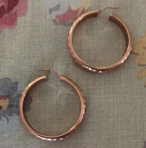 "14K Rose Gold Hoop Earrings 1 1/2"" 4+ grams Brand New"
