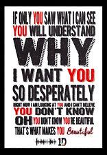 - Tamaño A3 - 1d One Direction Letras-canción de música Arte Cartel - # 11