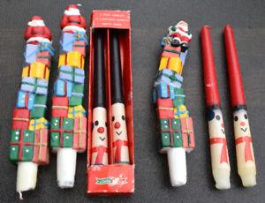 Lot of 7 Vintage Santa Christmas Holiday Hostess Taper Candles Read Discription.
