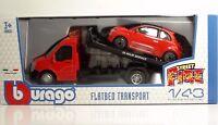 """Bburago 31402 Car Hauler w/Fiat 500 (2007) """"Red""""  - METAL 1:43"""
