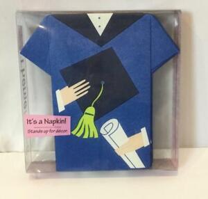 Set of 16 THEME NAPS Stand Up Graduation Cap & Gown Blue Napkins NEW
