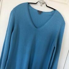 Women's Ann Taylor Blue Cashmere Sweater 37 Bust NWOT V Neck M L 111998