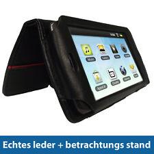 Schwarz Echtes Leder Tasche für Archos 43 Internet Tablet Hülle Case Etui
