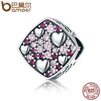 BAMOER S925 Sterling silver Charm Pink breath With Zircon For bracelet Jewelry