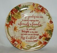 """222 Fifth Autumn Celebration 13"""" Round Porcelain Goodie Platter Tray Plate New"""
